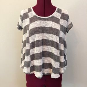 Chloe K   Sheer Striped Knit Lounge Tee
